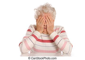 悲しい, 古い 女性, ∥で∥, 彼女, 手, へ, 彼女, 顔, ある, 狼狽
