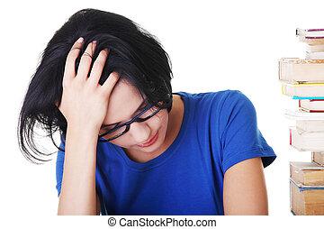 悲しい, 女性, 困難, 学生, 勉強