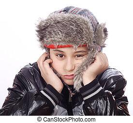 悲しい, 男の子, ∥で∥, 冬の 帽子