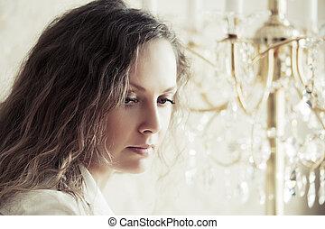 悲しい, 美しい女性, ∥で∥, 長い間, 巻き毛, 毛