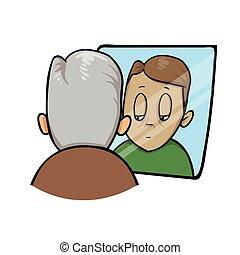 悲しい, 老人, ∥見る∥, より若い, 彼自身, 中に, ∥, 鏡。, 平ら, ベクトル, illustration., 隔離された, 白, バックグラウンド。