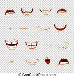 悲しさ, 傷, -, イミテーション, 感情, 喜び, 口, 漫画, インスピレーシヨン, 透明, 背景, ショック