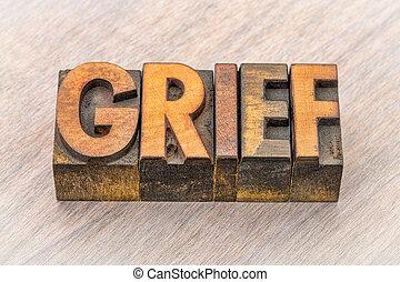悲しみ, 単語, 抽象的, 中に, 木, タイプ