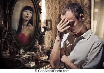 悲しみ, 型, 人, 背景, 鏡
