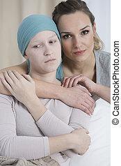 悲哀, 女孩, 由于, 癌症