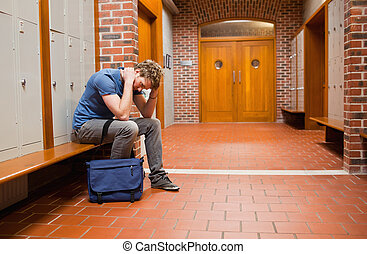 悲哀, 学生, 坐, 在上, a, 长凳