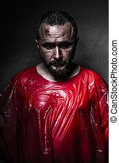 悲哀, 概念, 人, 由于, 紅色, 塑料