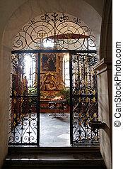 悲哀, 私達の, 祭壇, 女性, graz, franciscan, 教会, オーストリア