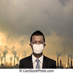 悲哀, bussinessman, 带, 伪装, 同时,, 空气污染, 概念
