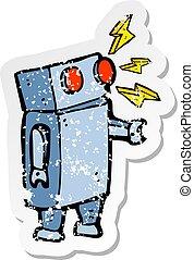 悲嘆させられた, ステッカー, ロボット, 漫画, レトロ