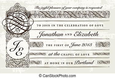悲嘆させられた, victorian, ベクトル, 結婚式の招待