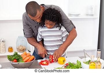 情事, 彼の, 野菜, 切口, 父, 息子, 助力