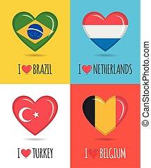 情事, netherlands, テキスト, 形づくられた, 心, ポスター, ベクトル, 国民, シチメンチョウフラグ, ベルギー, イラスト, ブラジル, カラフルである