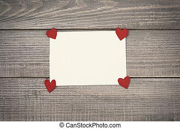 情人是, 卡片, 上, 木製的桌子