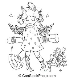 情人是, day., 頑皮, 漂亮, 卷曲, cupid-girl, 由于, slingshot, 後面, 她, 背, 翅膀, 以及, halo.