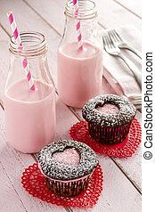 情人節, 心, cutout, cupcakes