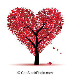 情人節, 樹, 愛, 葉子, 從, 心