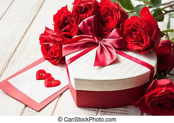 情人節, 禮物, 以及, 玫瑰