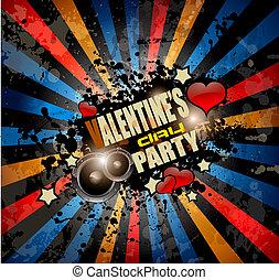情人節, 黨, 邀請, 飛行物, 背景