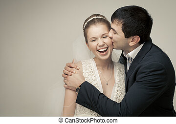 情人, 夫婦, 新郎, 文雅, bride., 背景, 工作室, 白色, 射擊