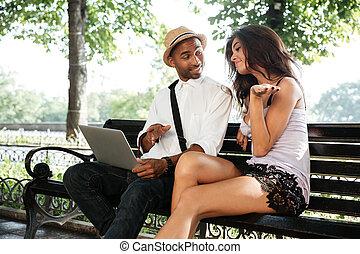情報通, モデル, ベンチ, 公園, モデル