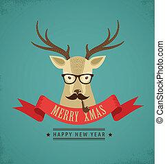 情報通, リボン, 鹿, クリスマス, 背景