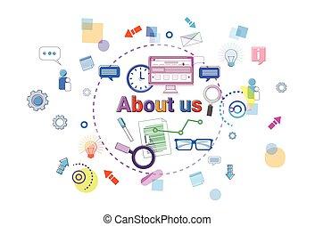情報, について, 概念, ビジネス, 私達, 連絡, 旗, デベロッパー