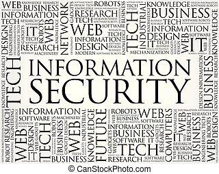 情報, セキュリティー, 単語, 雲