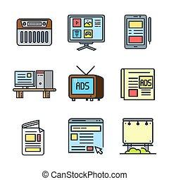 情報, セット, 色, 媒体, 装置, アイコン