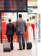 情報, 出張者, 見る, 空港, 板