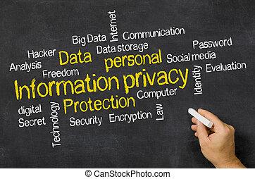 情報, 単語, プライバシー, 黒板, -, 雲