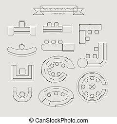 情報, 家具, カウンター, アイコン