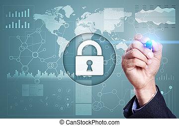 情報, 概念, データ保護, cyber, セキュリティー, インターネット技術, safety.