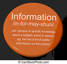 情報, 知識, 定義, ボタン, 事実, データ, 提示