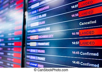 情報, 飛行, フォーカス, 空港, 精選する, 板, インターナショナル, ディスプレイ