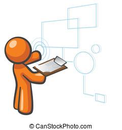 情報, sql, データベース, オレンジ, 技術, 人