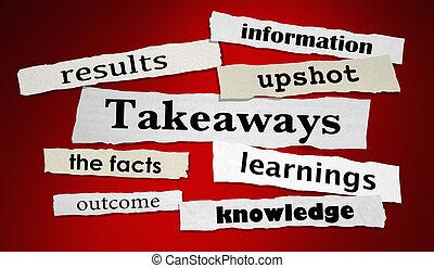 情報, takeaways, イラスト, 新聞, 見出し, 結果, 3d