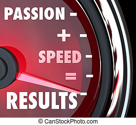 情熱, プラス, スピード, 同輩, 結果, 言葉, 上に, 速度計