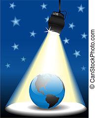 惑星地球, 空, スポットライト, ステージ