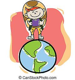 惑星地球, hand-drawn, 旅行者, 漫画