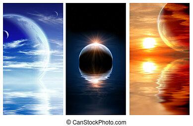 惑星, ファンタジー, 旗, セット, 風景
