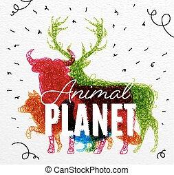 惑星, ポスター, もつれさせる, 動物