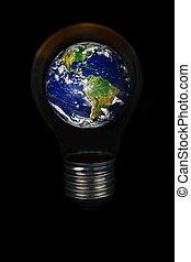 惑星, ライト, 地球, shining., 電球