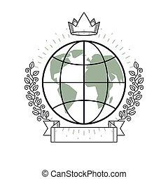 惑星, リボン, スタイル, 花輪, 地球, ベクトル, 紋章, 型, crown., 月桂樹