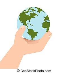 惑星, 世界, エコロジー, 手, 地球