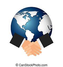 惑星, 世界, 握手, アイコン