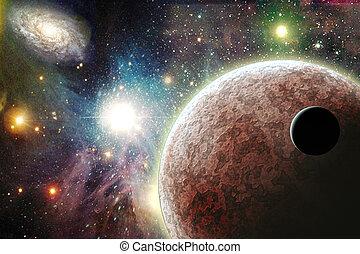惑星, 中に, スペース