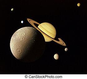 惑星, 中に, 外の, space.