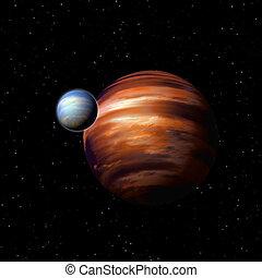 惑星, 中に, 海原, スペース
