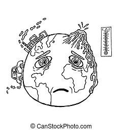 惑星, 引かれる, 手, 地球